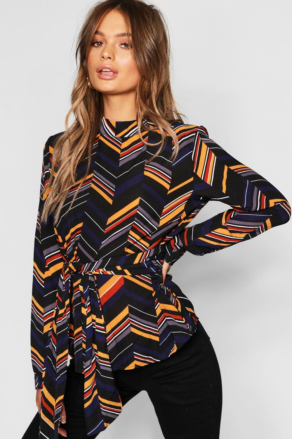 Geometric Tie Front Woven Top