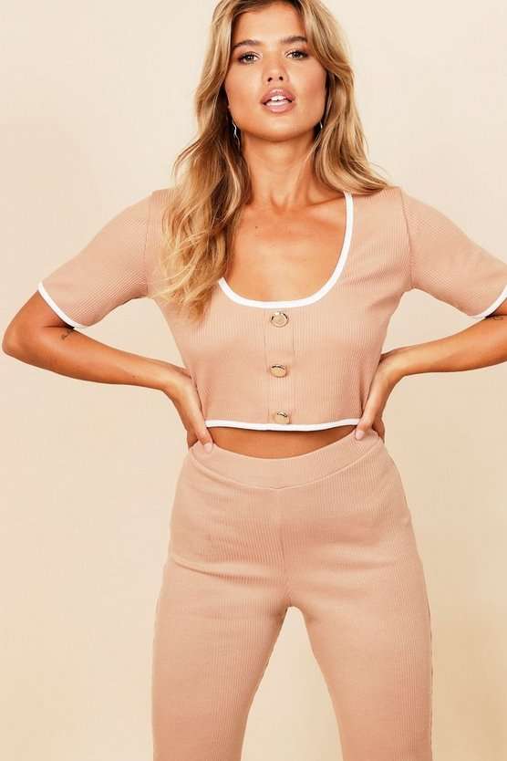 Ribbed Contrast Binding Gold Button Crop Top