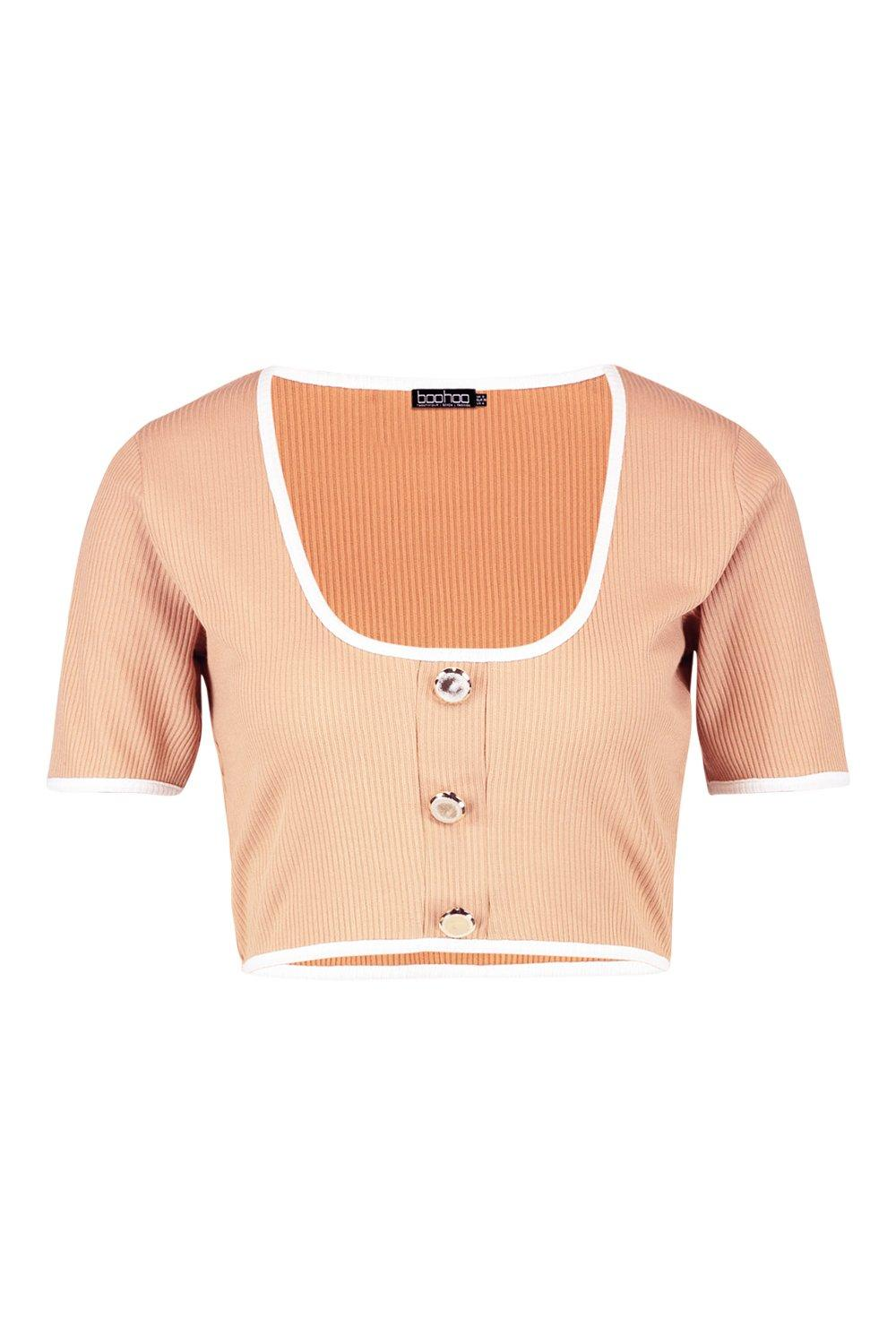 Contrast Binding Gold Ribbed camel Crop Top Button qwFAd5