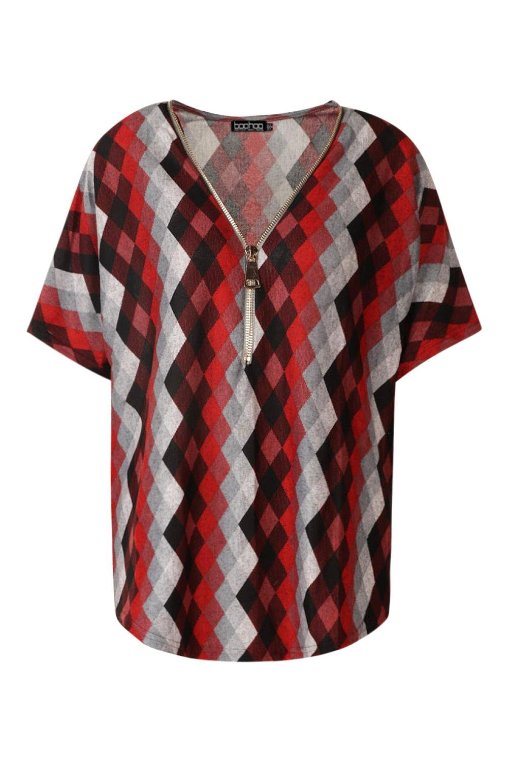 Zip red Print Geo Print Top Zip Geo gxqzWAw5