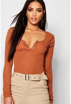 Womens Camel Rib Button Detail Long Sleeve Top
