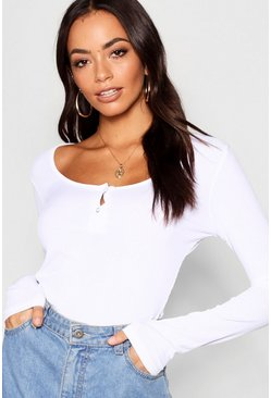 Womens White Rib Button Detail Long Sleeve Top