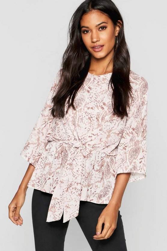 Womens Pink Snake Print Tie Front Blouse