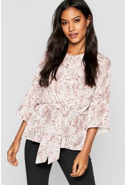 Pink Snake Print Tie Front Blouse
