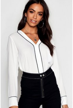 White Woven Piped Collar Detail Blouse