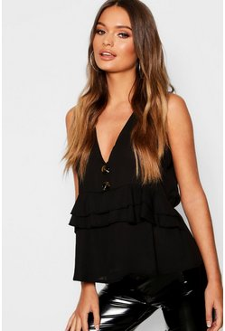 Womens Black Woven Horn Button Ruffle Waist Blouse