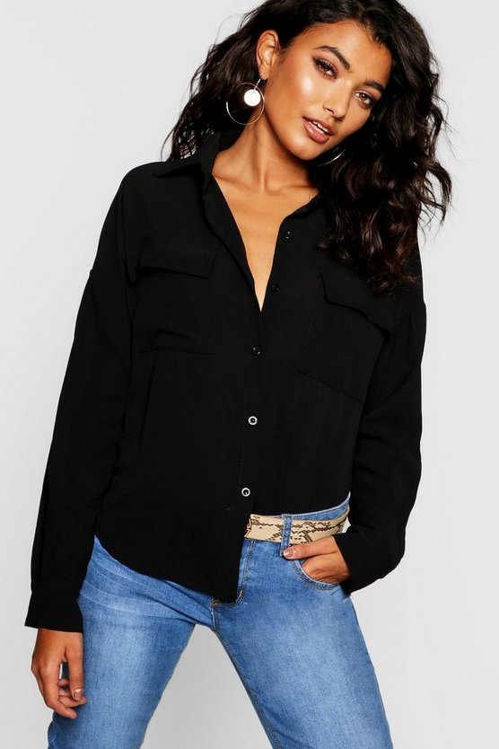 Womens Black Woven Large Pocket Roll Sleeve Blouse