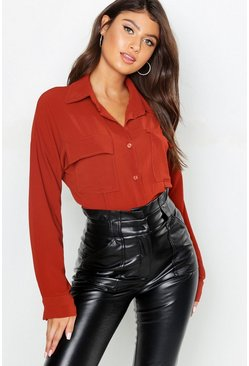 Womens Rust Woven Large Pocket Roll Sleeve Blouse