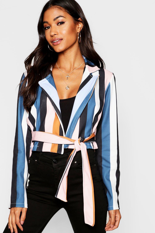 Woven Stripe Tie Belt Blouse
