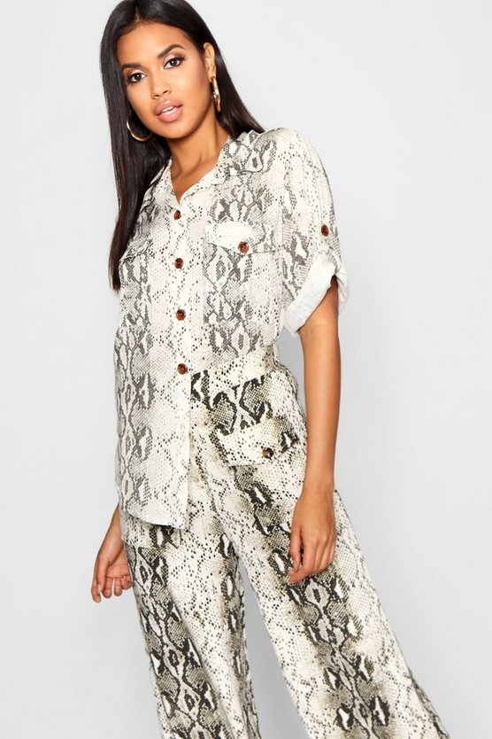 Womens Natural Snake Print Horn Button Roll Sleeve Blouse