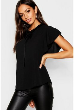 Womens Black Woven Frill Neck Tie Detail Blouse