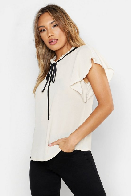 Woven Frill Neck Tie Detail Blouse