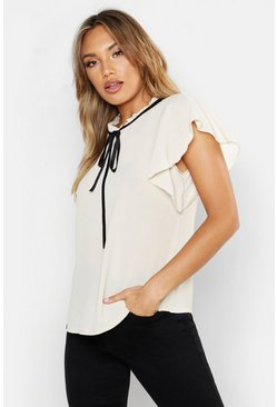 Womens Stone Woven Frill Neck Tie Detail Blouse