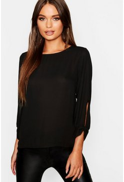 Black Bow Sleeve Woven Blouse