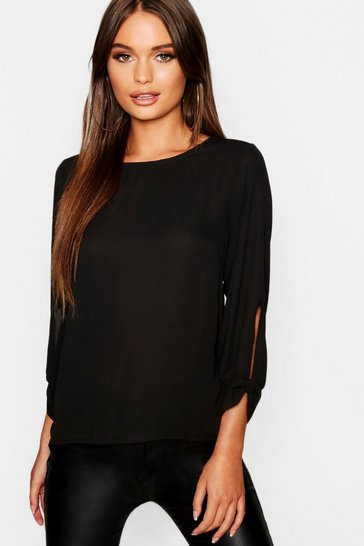 Womens Black Bow Sleeve Woven Blouse