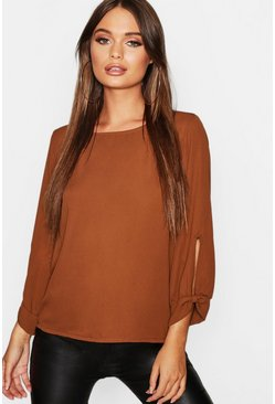 Womens Brick Bow Sleeve Woven Blouse