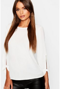 Womens Ivory Bow Sleeve Woven Blouse