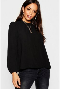 Womens Black Frill Neck Long Sleeve Woven Blouse