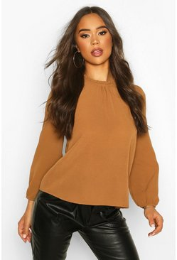 Brick Frill Neck Long Sleeve Woven Blouse
