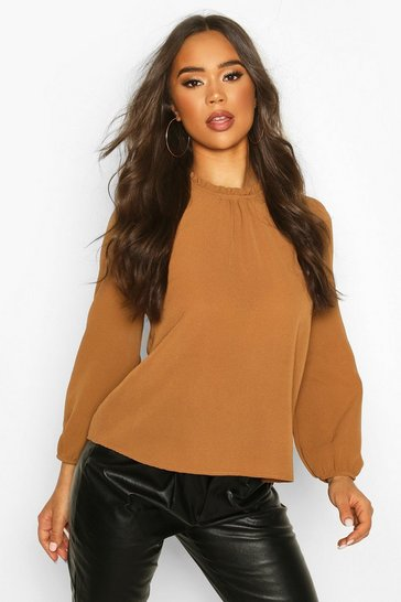 Womens Brick Frill Neck Long Sleeve Woven Blouse