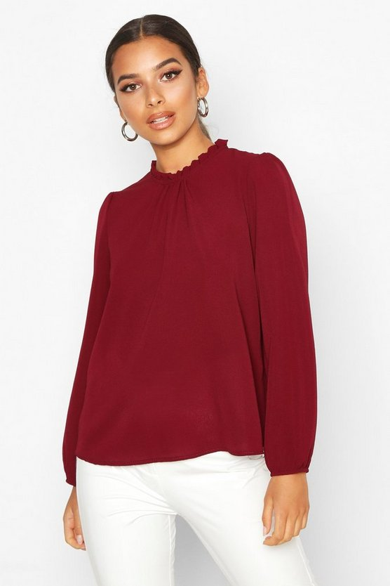 Womens Burgundy Frill Neck Long Sleeve Woven Blouse