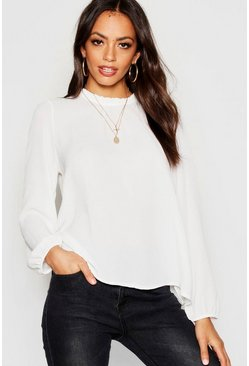 Ivory Frill Neck Long Sleeve Woven Blouse