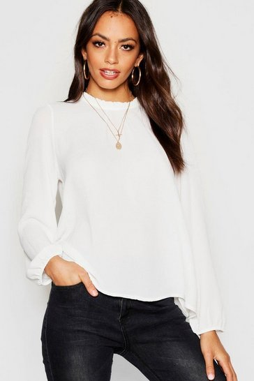 Womens Ivory Frill Neck Long Sleeve Woven Blouse