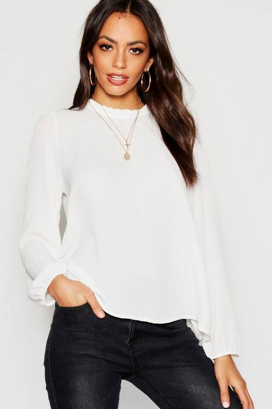 Frill Neck Long Sleeve Woven Blouse