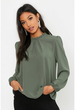 Khaki Frill Neck Long Sleeve Woven Blouse