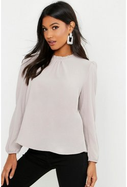 Womens Stone Frill Neck Long Sleeve Woven Blouse