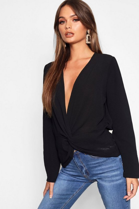 Womens Black Woven Twist Front Plunge Blouse