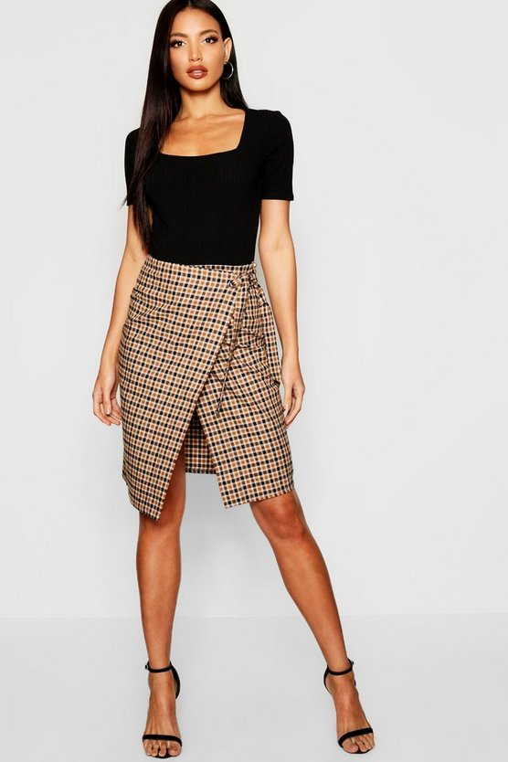 Woven Mini Check Wrap Midi Skirt