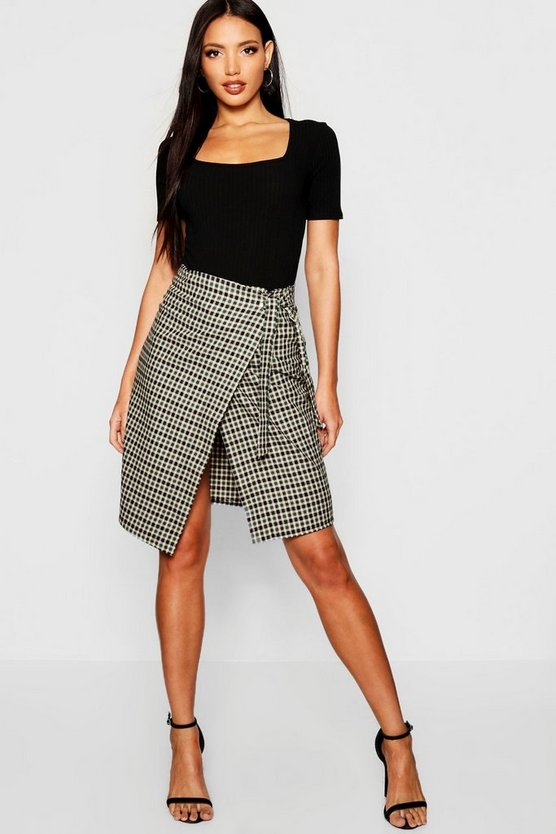 Womens Green Woven Mini Check Wrap Midi Skirt