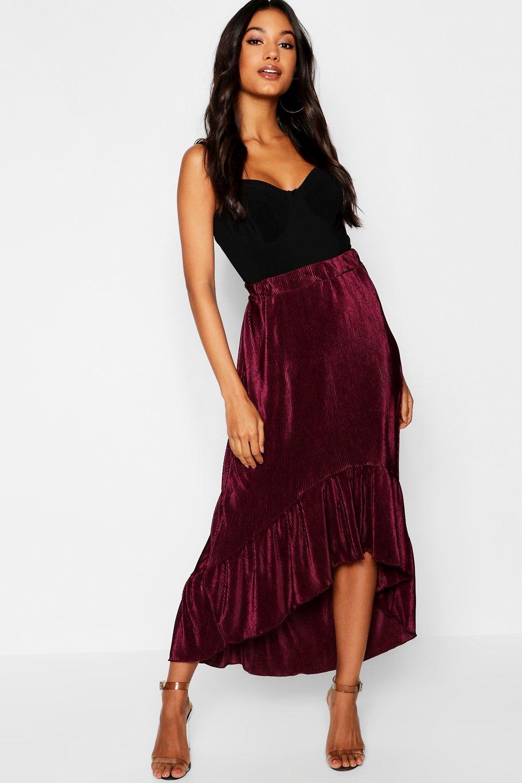 Pleated Dip Back Hem Skirt
