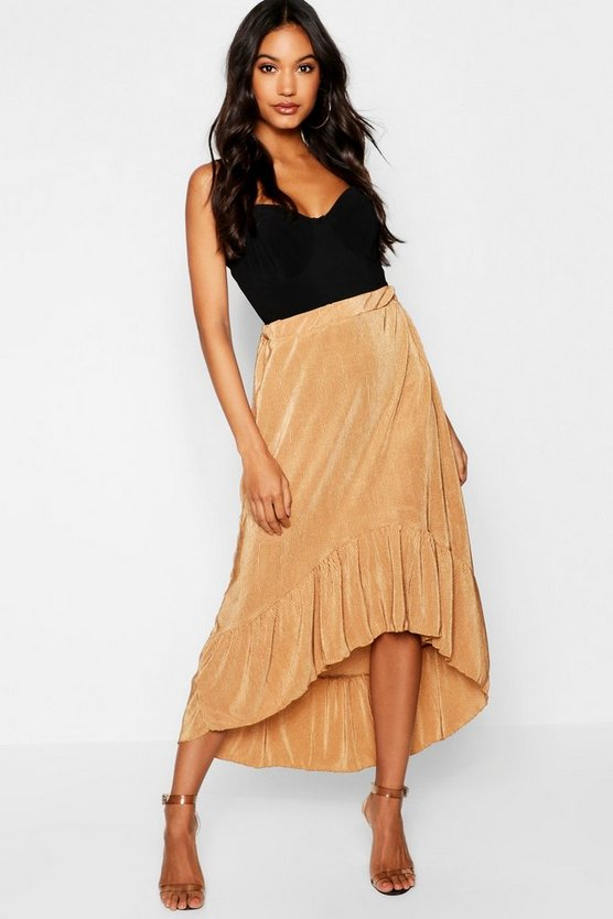 Pleated Dip Back Hem Skirt
