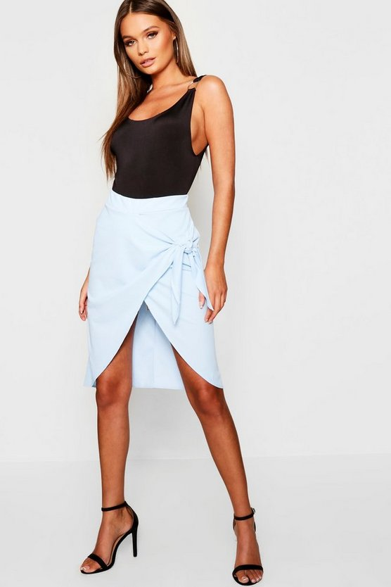 Wrap Detail Midi Skirt
