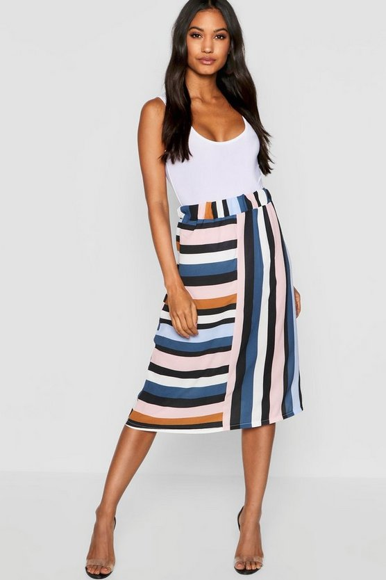 Womens Jade blue Stripe Cut Out Midi Skirt