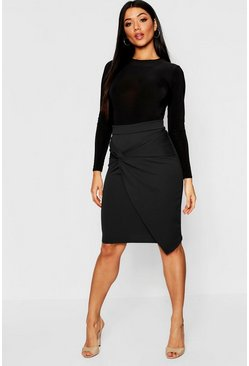 Womens Black Knot Detail Wrap Midi Skirt
