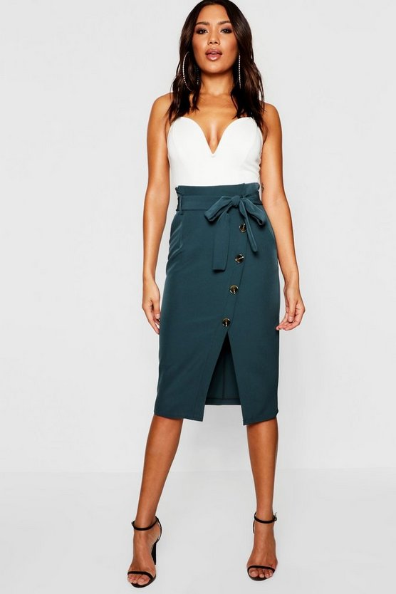 Wrap Tie Horn Button Midi Skirt