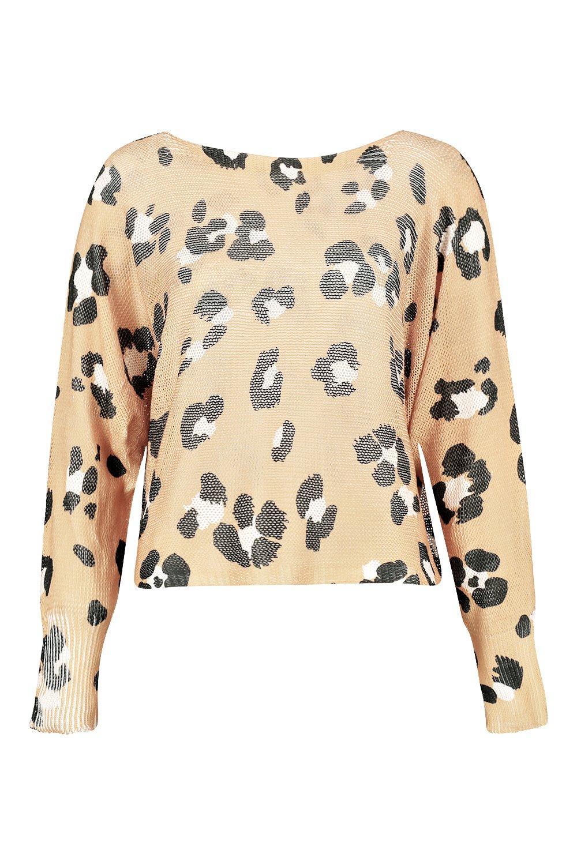 Crop Leopard camel Boxy Jumper Print W1Wwv6q0R