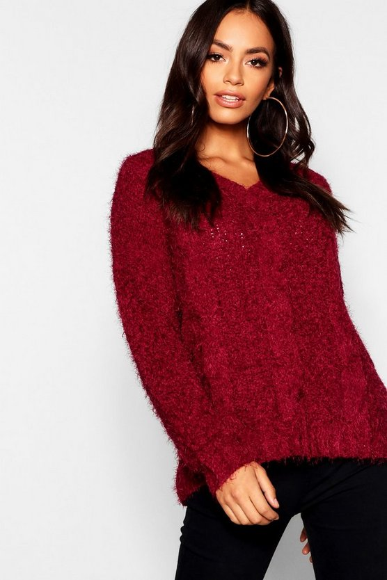 Berry Cable Knitted Feather Chenille Sweater