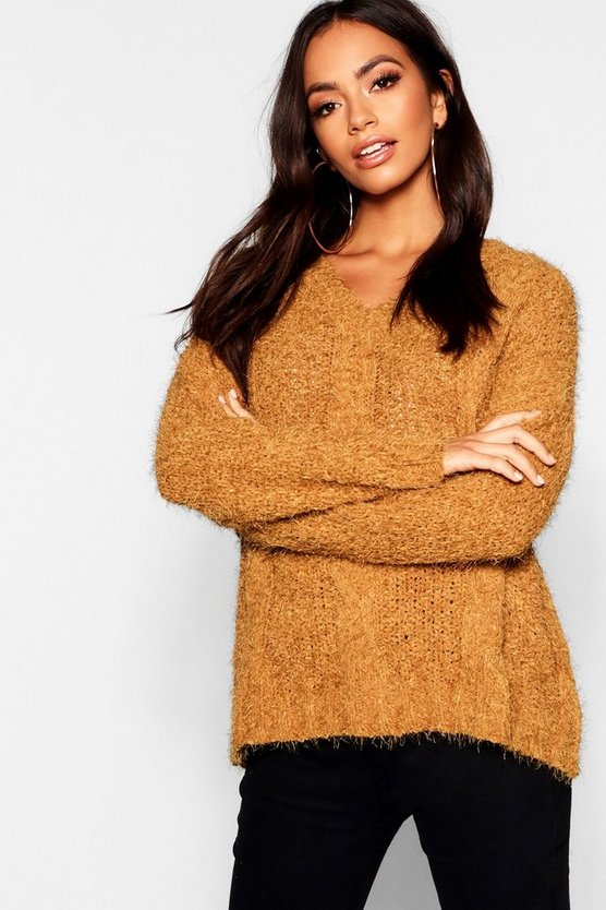 Cable Knitted Feather Chenille Jumper