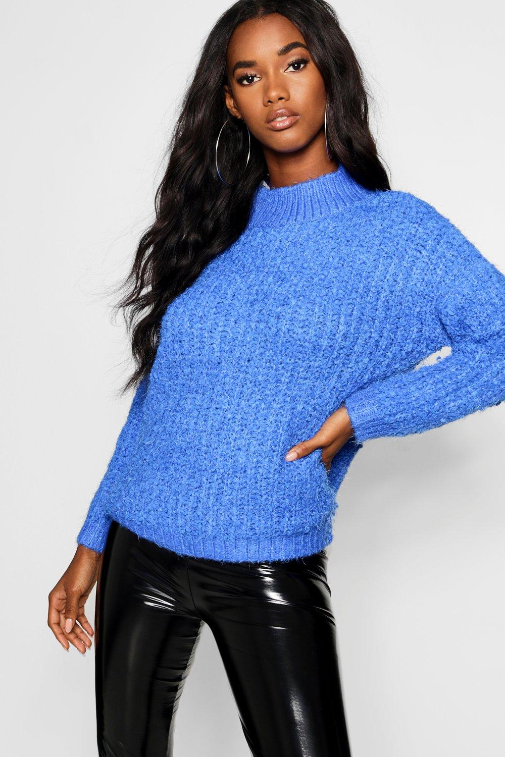 Boucle Chenille cobalt Jumper Feather Knit WHrwgq0EH