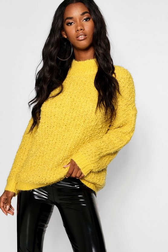 Boucle Feather Knit Chenille Jumper Boucle Feather Knit Chenille Jumper by Boohoo
