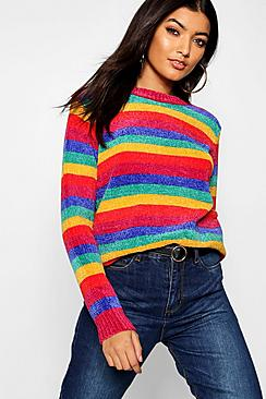 Vintage Sweaters: Cable Knit, Fair Isle Cardigans & Sweaters Rainbow Knitted Chenille Jumper $40.00 AT vintagedancer.com