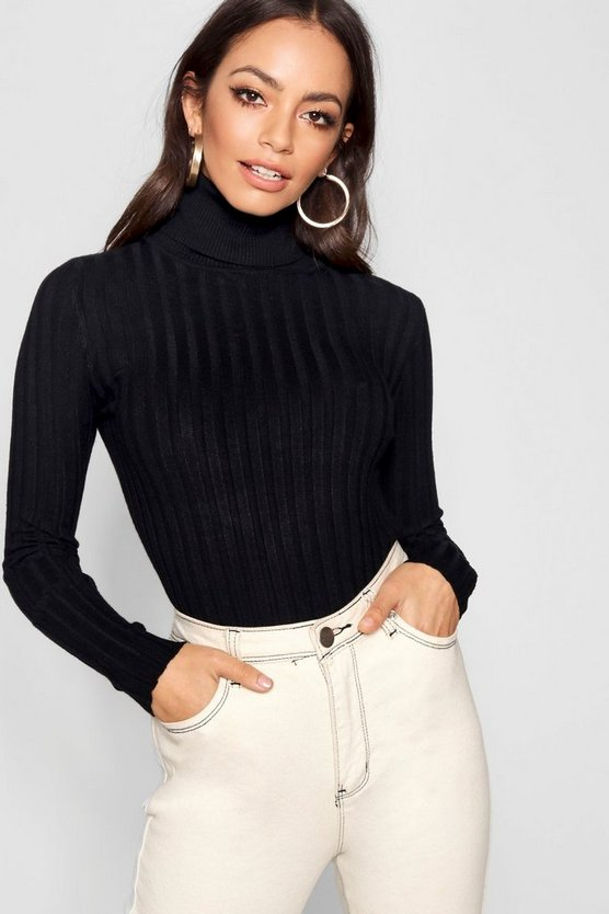 Womens Black Ribbed Turtle Neck