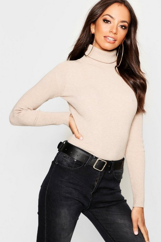 Ribbed Turtle Neck Knitted Jumper