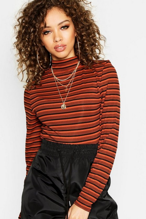 Stripe Rib Long Sleeve High Neck Top