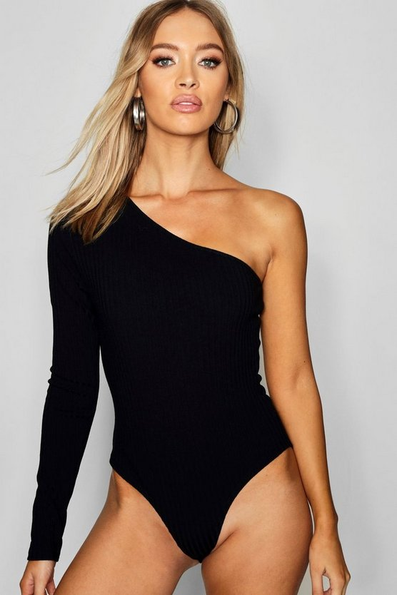 One Shoulder Rib Knit Bodysuit