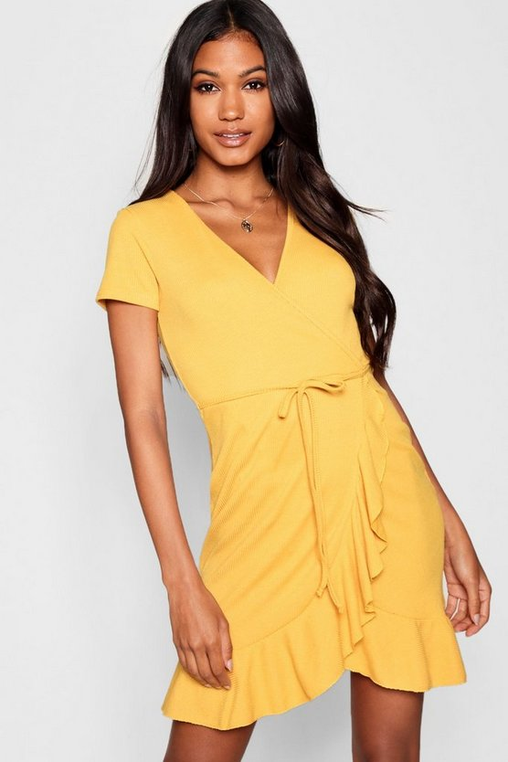 Womens Mustard Rib Knit Wrap Over Tea Dress